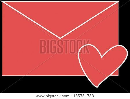 love envelope with heart shape