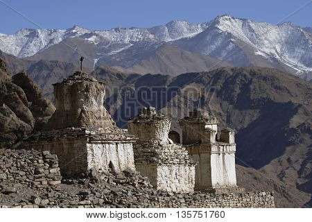 Three stupas in Himalayan mountains in Ladakh, India.