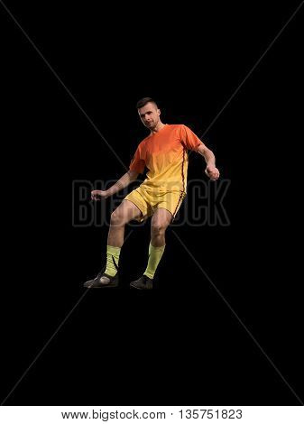 soccer professional player in red uniform kicking on training isolated