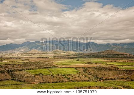 Cultivated Land In The Foothills Of The Andean Mountains Ecuador South America