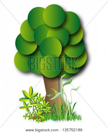stylish tree and green grass on white background