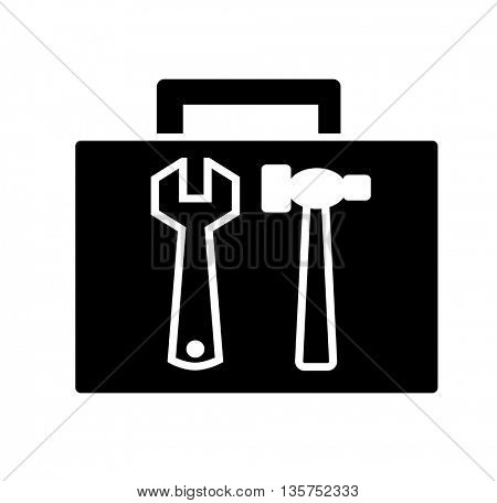 Wrench and hammer. Tools icon isolated in tools bag