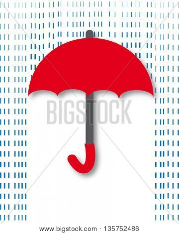 cool single weather icon - elegant opened umbrella with heavy fall rain