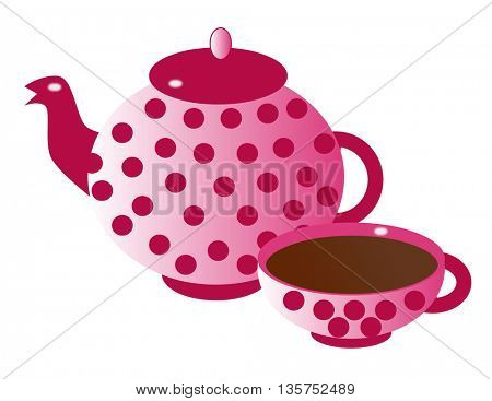 Silhouette of teapot and cup of hot chocolate or coffee