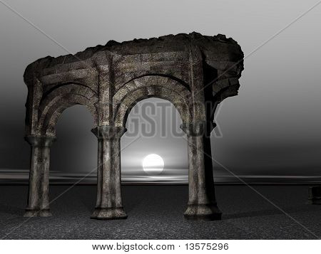 A 3D rendering of an ancient dilapidated colosseum