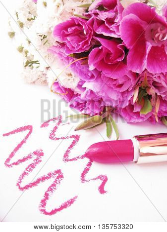 pink lipstick and flowers