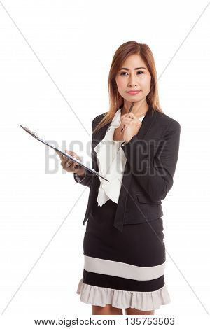 Young Asian Business Woman Thinking With Pen And Clipboard