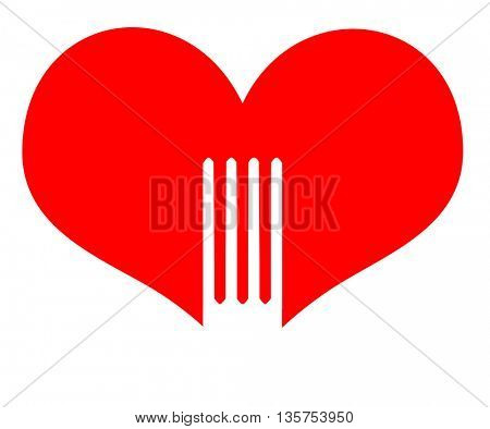 Fork into heart shapes icon- restoraunt concept
