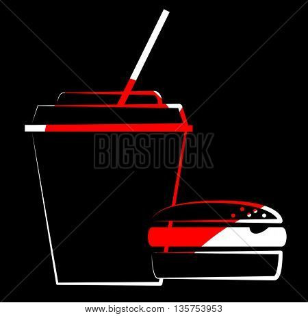 fast food-Burger with soft drink icon