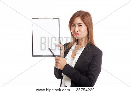 Unhappy Asian Business Woman Point To Clipboard With Pen
