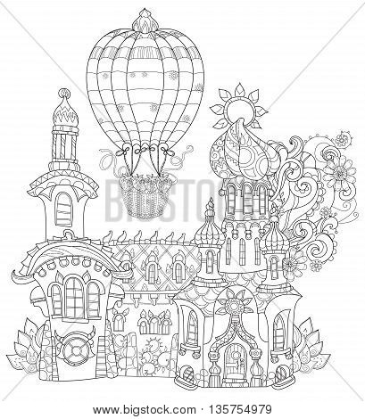 Vector cute fairy tale town doodle and air balloon.Vector line illustration.Sketch for postcard, print or coloring adult book.Boho zen art style.