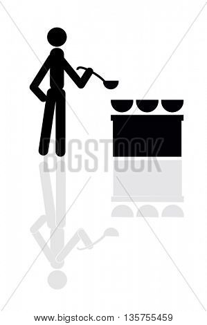 Chef cooking food and stove icon