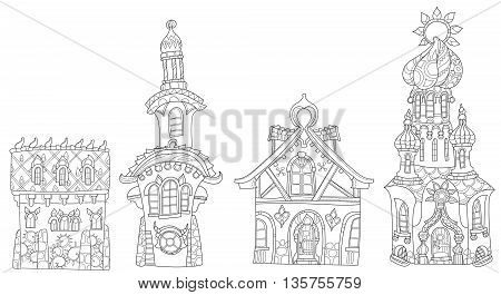 Vector cute fairy tale town doodle set.Vector line illustration.Sketch for postcard, print or coloring adult book.Boho zen art style.