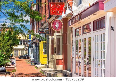 BALTIMORE, MARYLAND - JUNE 14, 2016: Shops at Fell's point. The historic waterfront neighborhood was established in 1763 along the north shore of the Baltimore Harbor.