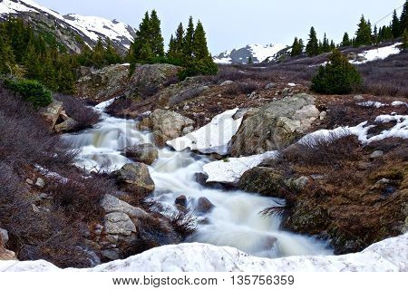 Alpine tundra and creek below Independence Pass near Aspen, Colorado State, USA.