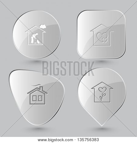 4 images: home cat, orphanage, flower shop. Home set. Glass buttons on gray background. Vector icons.