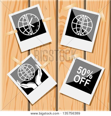 4 images: globe and clock, globe, 50% OFF, protection world. Business set. Photo frames on wooden desk. Vector icons.