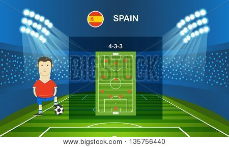 Soccer team arrangement. Infographic template