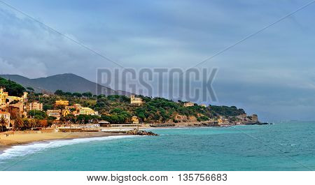 picturesque bay celle ligure with colorfull buildings and blue sky