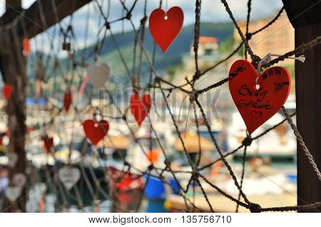romantic place with Red Hearts in Camogli