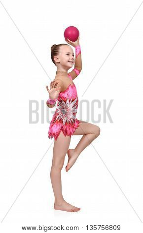 Girl Gymnast With Red Ball