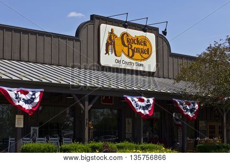 Indianapolis - Circa June 2016: Cracker Barrel Old Country Store Location. Cracker Barrel Serves Homestyle Food V