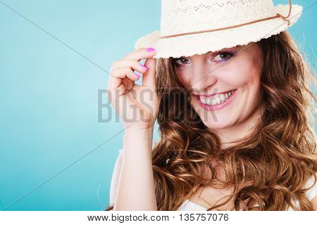 Charming Woman In Summer Straw Hat