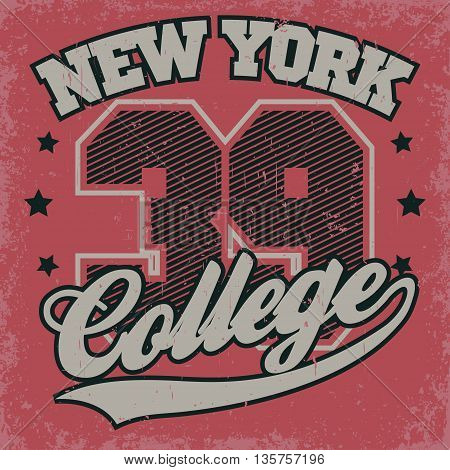 New York college print, Fashion Typography Graphics. Sport T-shirt Design. Vector