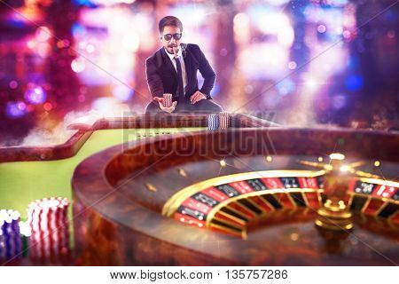 3D Rendering of man gambler playing roulette