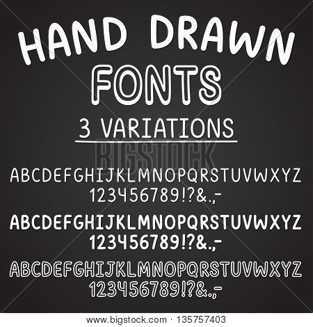 3 hand drawn fonts: thin bold and outlined. White chalk on blackboard. Cute cartoon vector typeface.