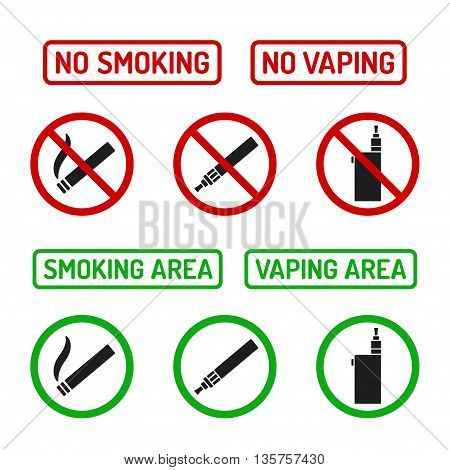 Set of No Smoking and Smoking Area symbols. Cigarettes and vaporizers (electronic cigarettes) text signs.