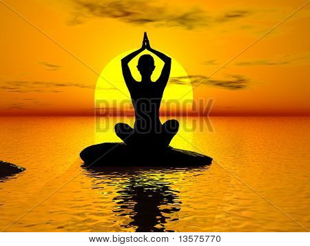 An illustration of a woman doing yoga in the sunlight
