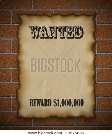 An illustration of a wanted posted with reward