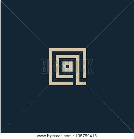Unusual geometric letter Q. Architecture vector logo. Isolated monogram