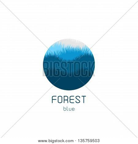 Isolated round vector logo. Blue forest view image. Natural landscape icon. Planet illustration. Trees silhouette