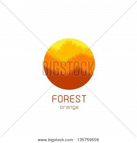 Isolated round vector logo. Yellow forest view image. Natural landscape icon. Planet illustration. Trees silhouette