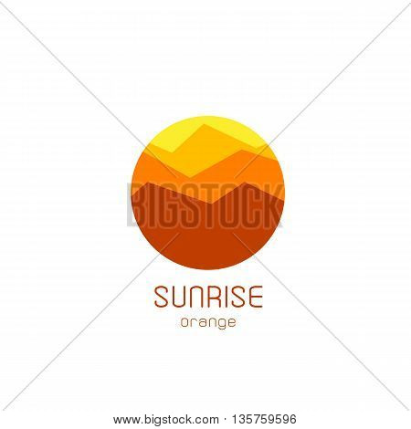 Isolated round sunrise vector logo. Mountains silhouette. Minimalistic evening sky