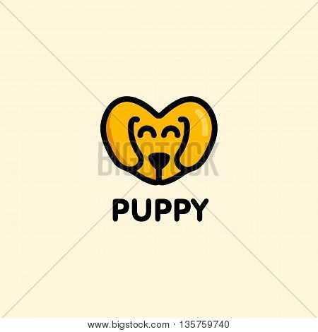 Isolated brown color vector puppy muzzle logo. Cute heart shape cartoon dog logotype.