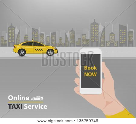 Booking taxi service application advertisement (Vector eps10)