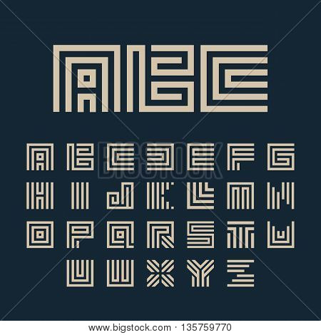 Geometric vector white color alphabet letters set. Monogram symbols collection on the dark blue background. Unusual typography elements group