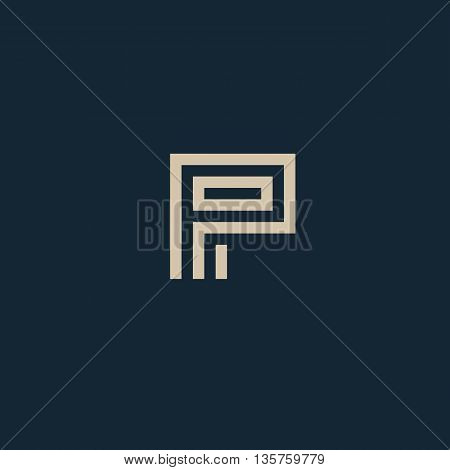 Unusual geometric letter P. Architecture vector logo. Isolated monogram