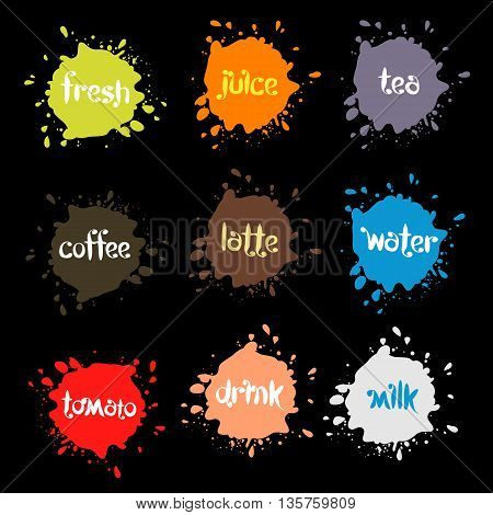 Spray blots, colorful picture stain unusual modern logos set. Beverage vector backgrounds collection