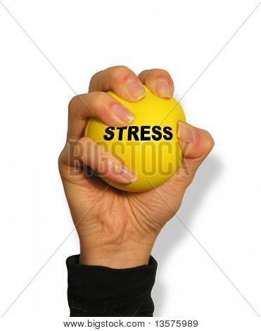 A photo of a woman squeezing a stress ball