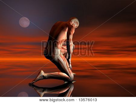 A 3D rendering of a man with no skin kneeling