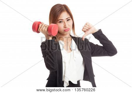Unhappy Asian Business Woman Thumbs Down With Dumbbells