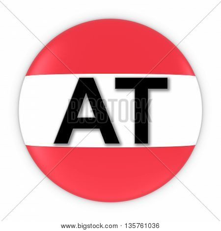 Austria Flag Button With Two Letter Country Iso Code 3D Illustration