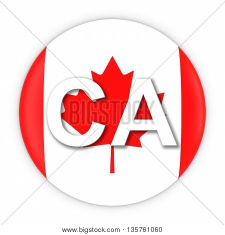 Canada Flag Button With Two Letter Country Iso Code 3D Illustration