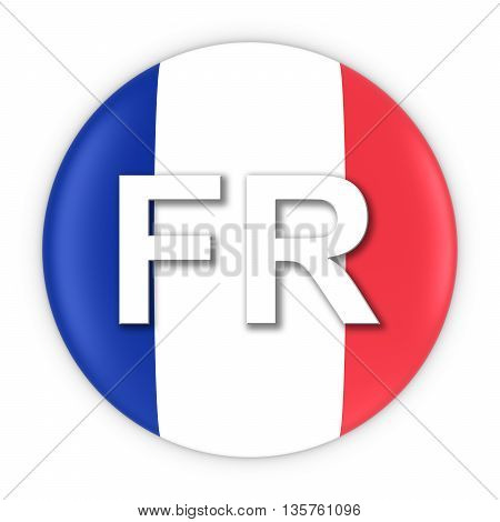 France Flag Button With Two Letter Country Iso Code 3D Illustration