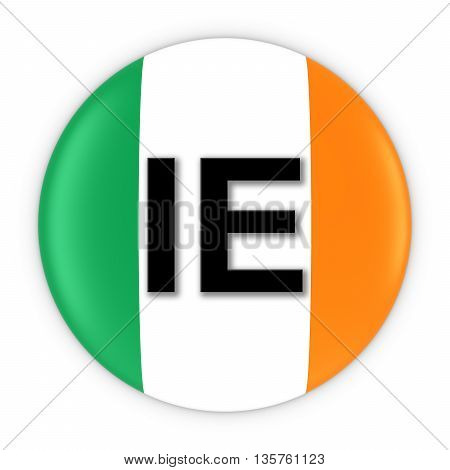Ireland Flag Button With Two Letter Country Iso Code 3D Illustration
