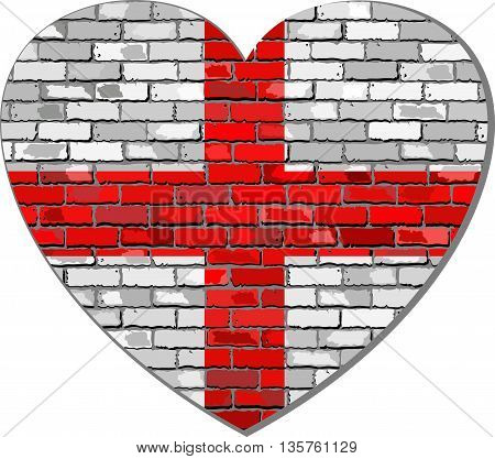 England flag on a brick wall in heart shape - Illustration, Abstract grunge English flag